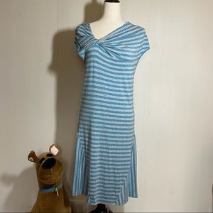Athleta Turquoise/Grey Striped Maxi Dress